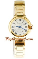 Ballon Blue De Cartier Yellow Gold Ladies Replica Watch 4