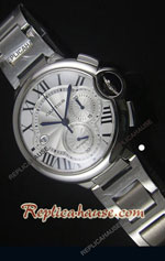 Cartier De Ballon Chronograph White Dial Swiss Replica Watch 07