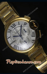 Cartier De Ballon Chronograph Gold Swiss Replica Watch 06