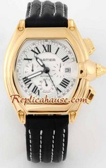 Cartier Roadster Gold Replica Watch - Leather