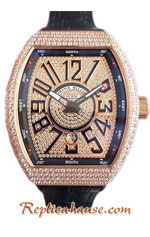 Franck Muller Vanguard Gold Diamonds Swiss Replica Watch 05