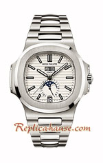 Patek Philippe Nautilus Moon White Dial Swiss Watch 25