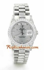 Rolex Replica Day Date Silver - Diamond 10