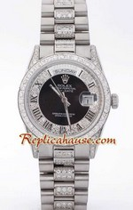 Rolex Replica Day Date Silver - Diamond 5