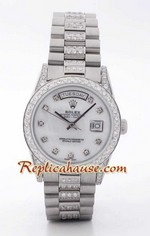 Rolex Replica Day Date Silver - Diamond 6