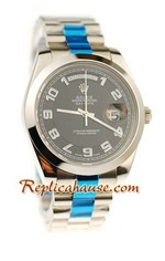Rolex Replica Day Date II Silver Swiss Watch - 41MM 01