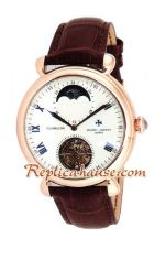 Vacheron Constantin Tourbillon Automatic Rose Gold Case with White Dial-Leather Strap 2012 Watch 1