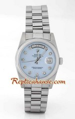 Rolex Replica Day Date Mother Of Pearl Blue Dial<font color=red>หมดชั่วคราว</font>