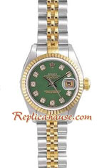 Rolex Replica Datejust Green Boy-Sized two tone Watch 01