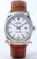 Rolex Datejust Leather White Face
