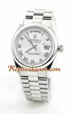 Rolex Day Date Silver Swiss Watch 4