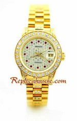 Rolex Replica Datejust Ladies Gold - Diamonds Dial Watch 1