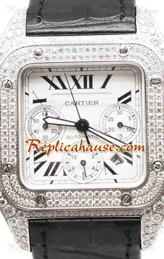 Cartier Santos 100 Diamond Swiss Replica Watch 20