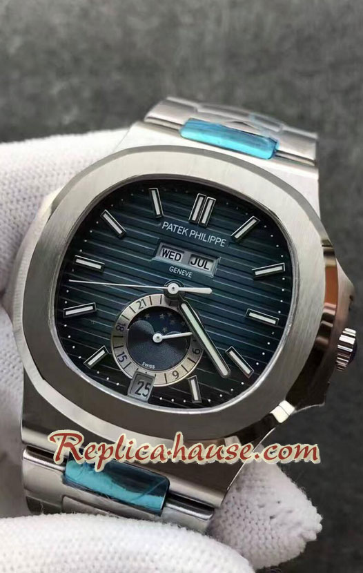 Patek Philippe Nautilus Moon Blue Dial Swiss Watch 26