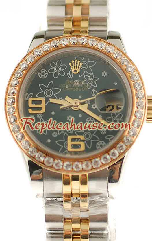 Rolex Swiss Replica Floral Motif Datejust Watch - Lady Size 01