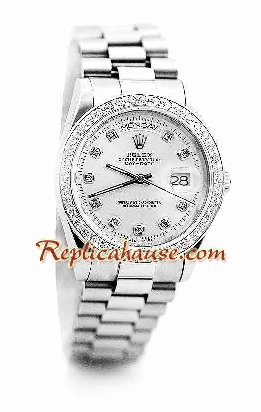 Rolex Day Date Silver Swiss Watch 12