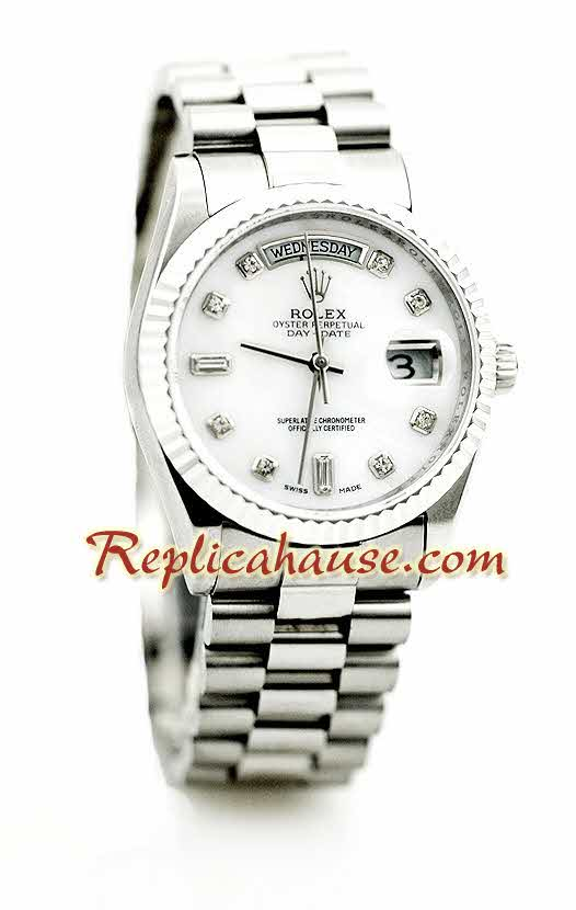 Rolex Day Date Silver Swiss Watch 8