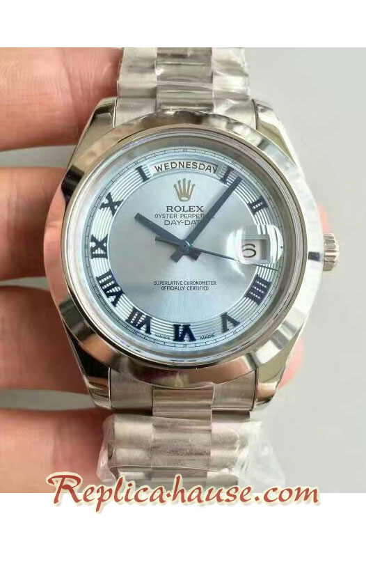 Rolex Replica Day Date II Silver Swiss Watch - 41MM 04