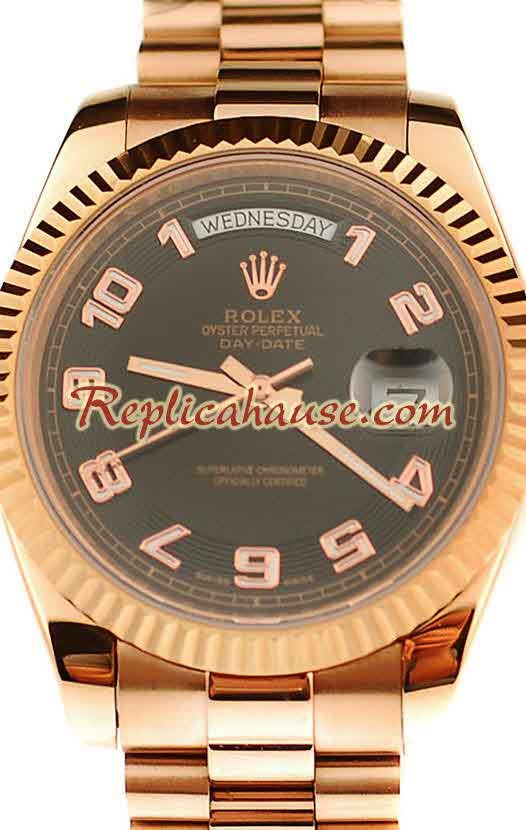 Rolex Replica Day Date Pink Gold Swiss Watch 5