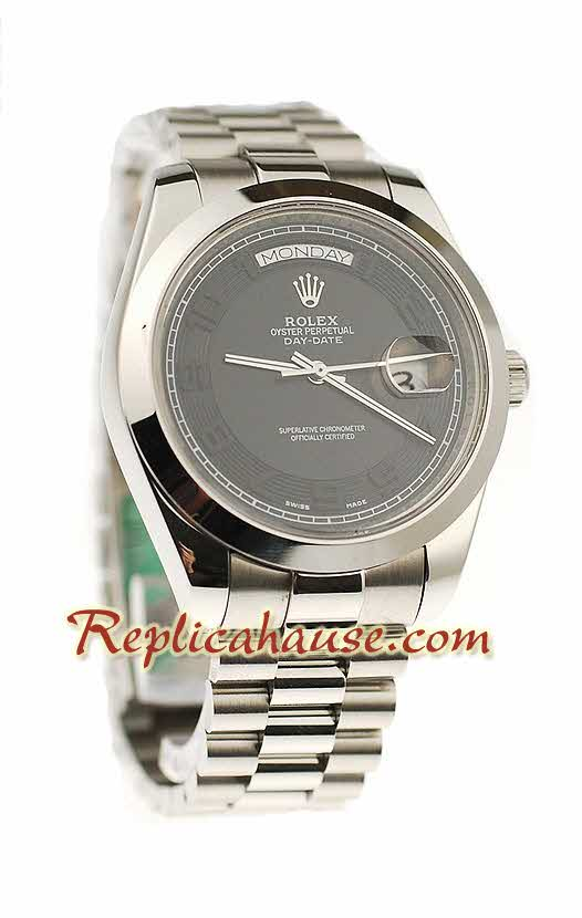 Rolex Replica Day Date II Silver Swiss Watch - 41MM 03