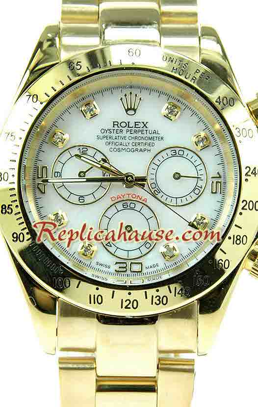 Rolex Replica Daytona Gold White dial Watch 9
