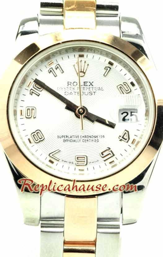 Rolex Replica Ladies Datejust Pink Gold Watch 01