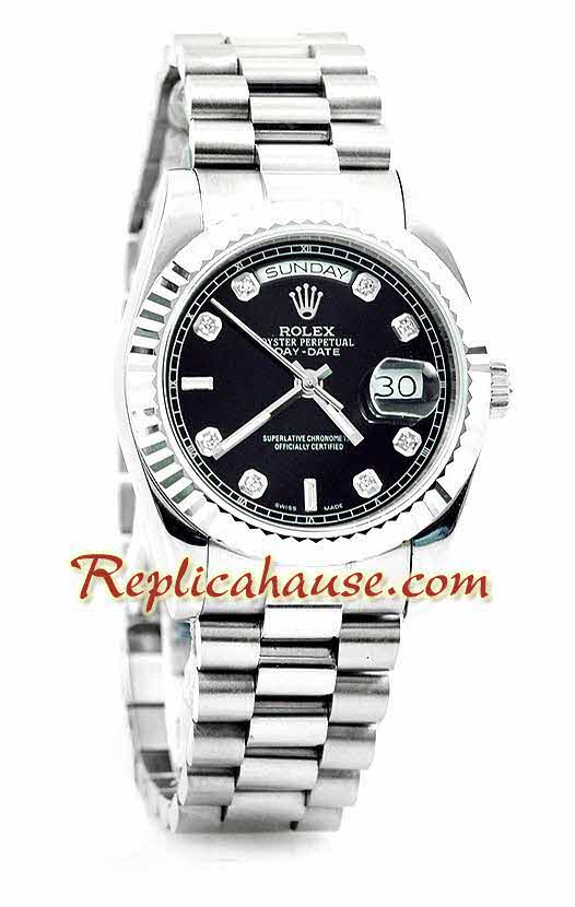 Rolex Day Date Silver Swiss Watch 13