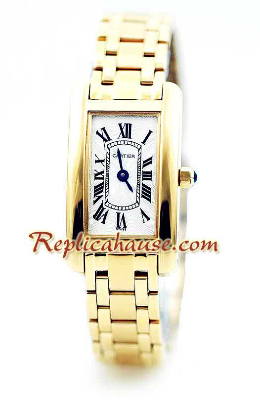 Cartier Tank Americaine Ladies Gold Watch 1