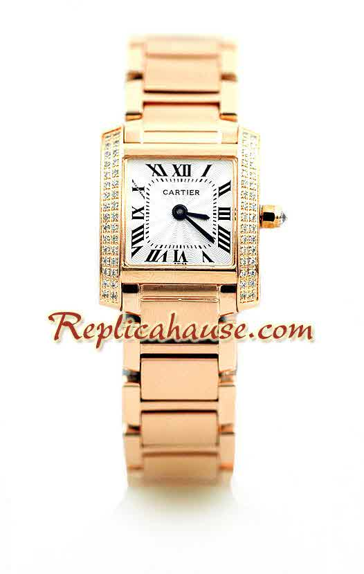 Cartier Tank Francise Pink Gold Ladies Watch 1