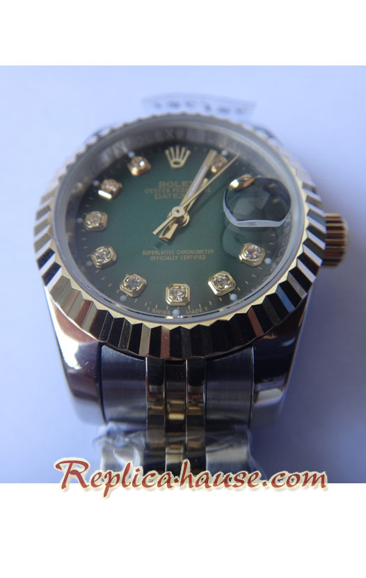 Rolex Datejust Green Lady-Sized two tone Ladies - 01
