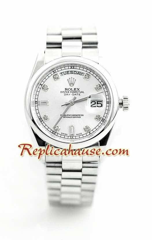 Rolex Day Date Silver Swiss Watch 1
