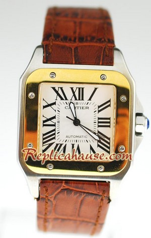 Cartier Replica Santos Swiss Two tone watch 01