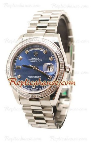 Rolex Day Date Silver Swiss Watch 14