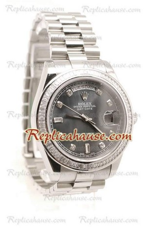 Rolex Replica Day Date Silver Swiss Watch 15