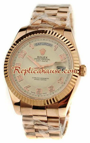 Rolex Replica Day Date Pink Gold Swiss Watch 4