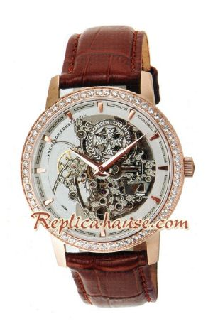Vacheron Constantin Skeleton Automatic Diamond Markers with Silver Case-Leather Strap 2012 Replica Watch 04