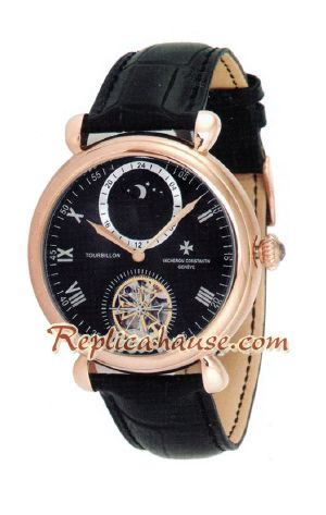 Vacheron Constantin Tourbillon Automatic Rose Gold Case with White Dial-Leather Strap 2012 Watch 2