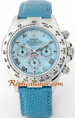 Rolex Daytona Blue Leather Ladies