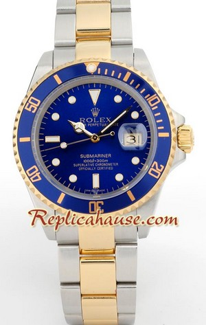 Rolex Submariner Two Tone Blue Face Swiss Watch